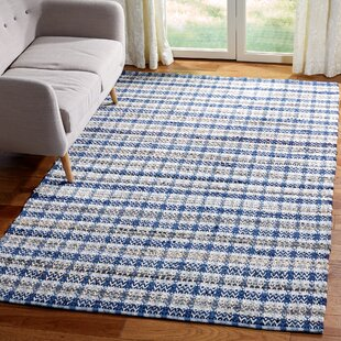 Bester Hand Woven Cotton Blue White Area Rug