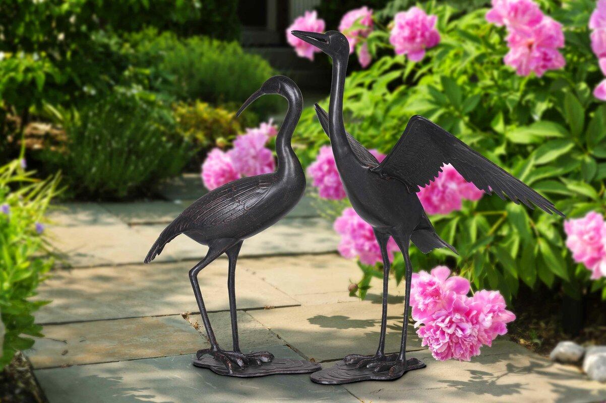 2 Piece Crane Garden Statue Set