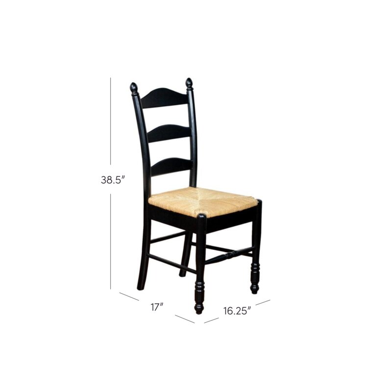 Attirant Gennevilliers Ladder Back Solid Wood Dining Chair