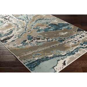 Divernon Beige/Blue Abstract Area Rug