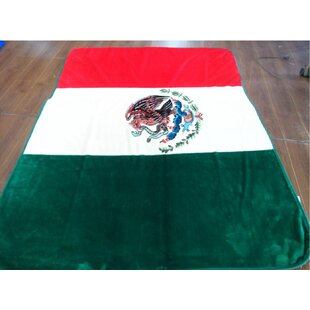 1 Ply Mink Mexican Flag Throw Blanket