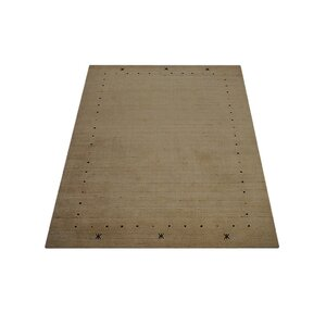 Maggiemae Hand Knotted Wool Beige Area Rug