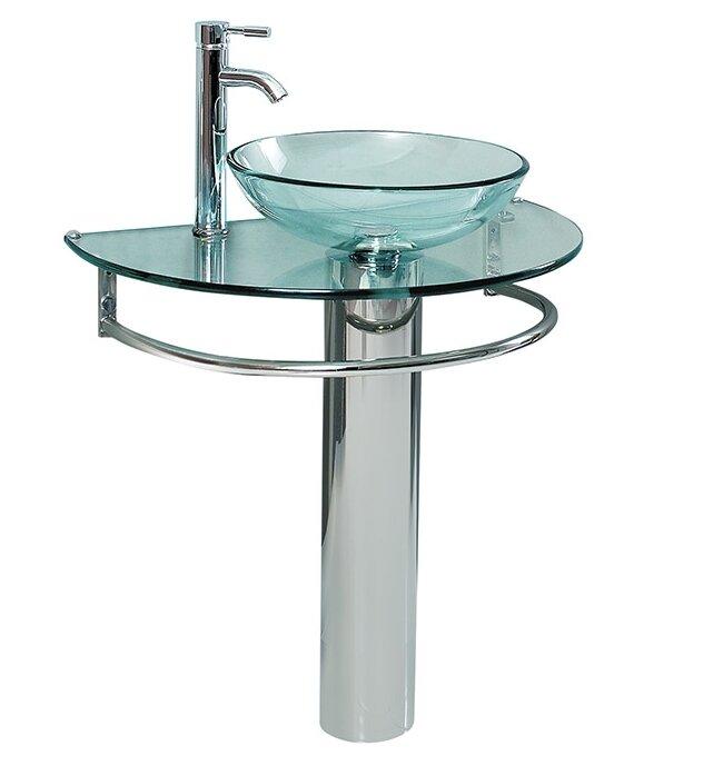 Fresca Attrazione Glass Glass 35 Quot Pedestal Bathroom Sink