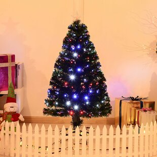 4 green artificial christmas tree with 130 multi colored lights with stand