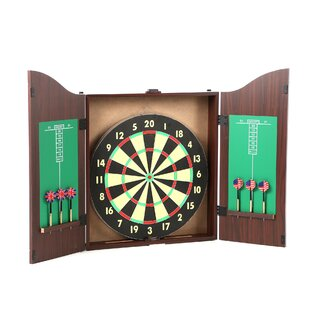 TGT 10 Piece Dartboard Cabinet Set In Realistic Walnut