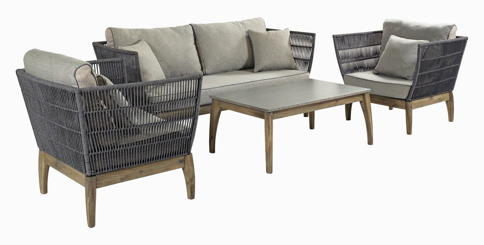 SeasonalLiving Wings Indoor/Outdoor 4 Piece Rattan Sofa Set with ...