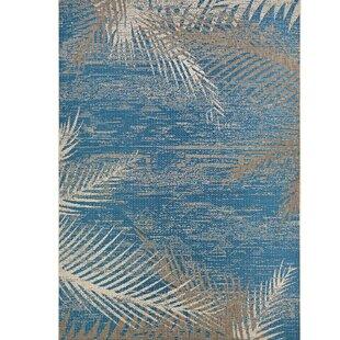 Odilia Tropical Palms Blue Gray Beige Indoor Outdoor Area Rug