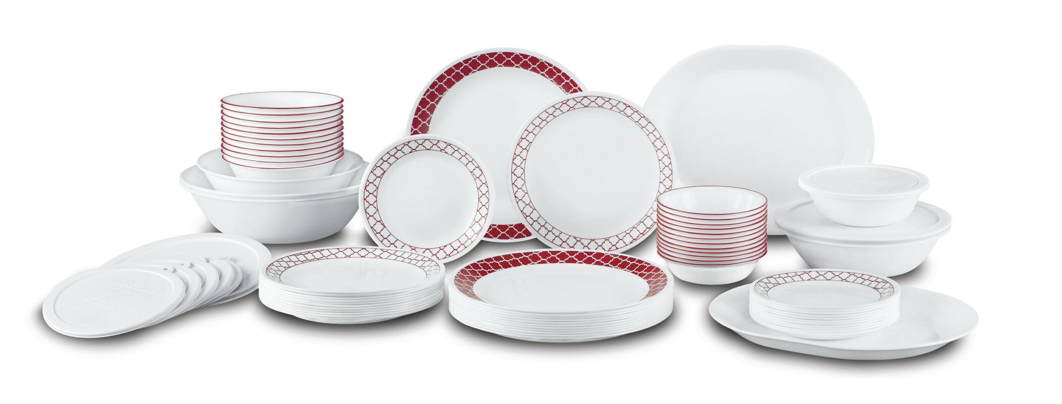 Crimson Trellis Living Ware 74 Piece Dinnerware Set Service for 12  sc 1 st  Wayfair & Corelle Dinnerware Sets Youu0027ll Love | Wayfair