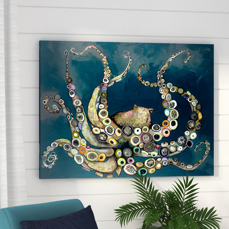 Beachcrest Home \'Octopus in the Navy Blue Sea\' Framed on Canvas ...