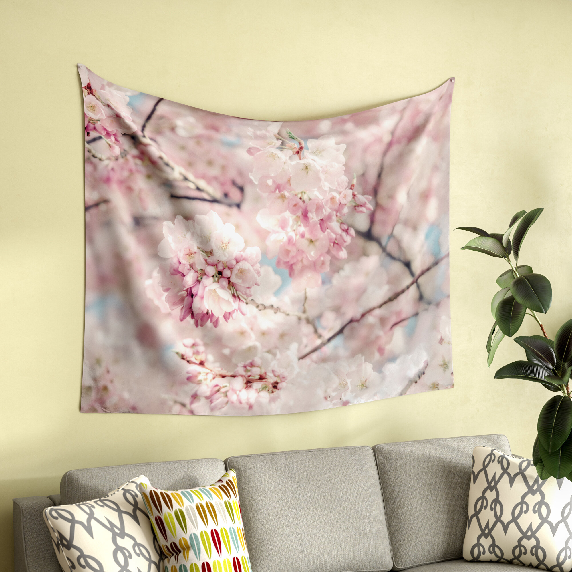 East Urban Home Photography Cherry Blossoms By Suzanne Harford Wall Tapestry Wayfair