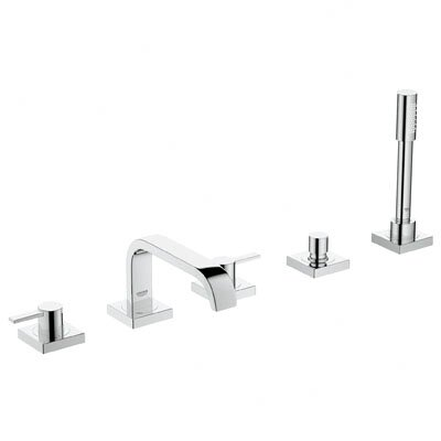 Allure Two Handle Deck Mounted Roman Tub Faucet With Hand Shower