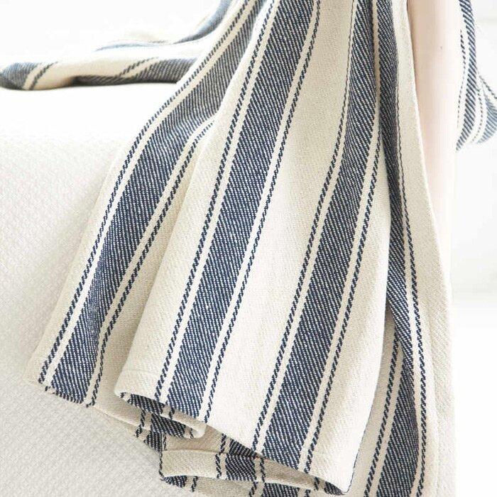 Woven Cotton Awning Stripe Throw