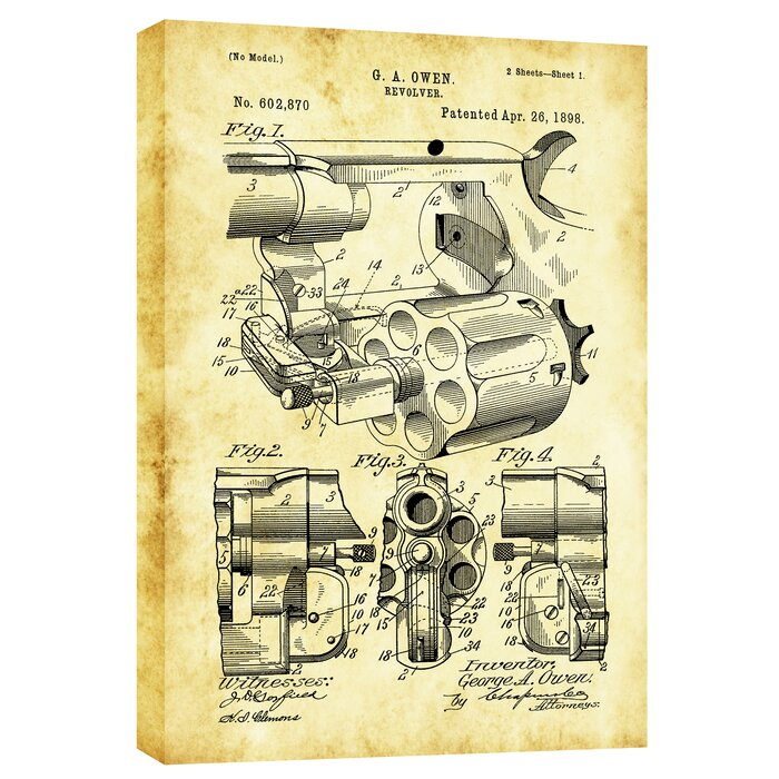 Cortesi home owen revolver vintage patent blueprint graphic art owen revolver vintage patent blueprint graphic art on wrapped canvas malvernweather Gallery