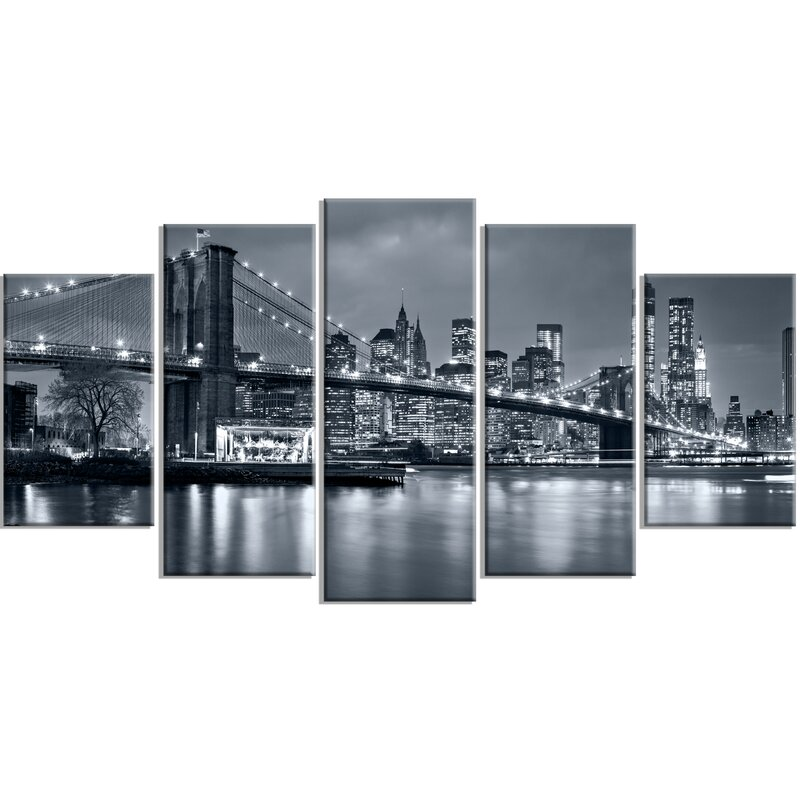 DesignArt \'Panorama New York City at Night\' 5 Piece Wall Art on ...