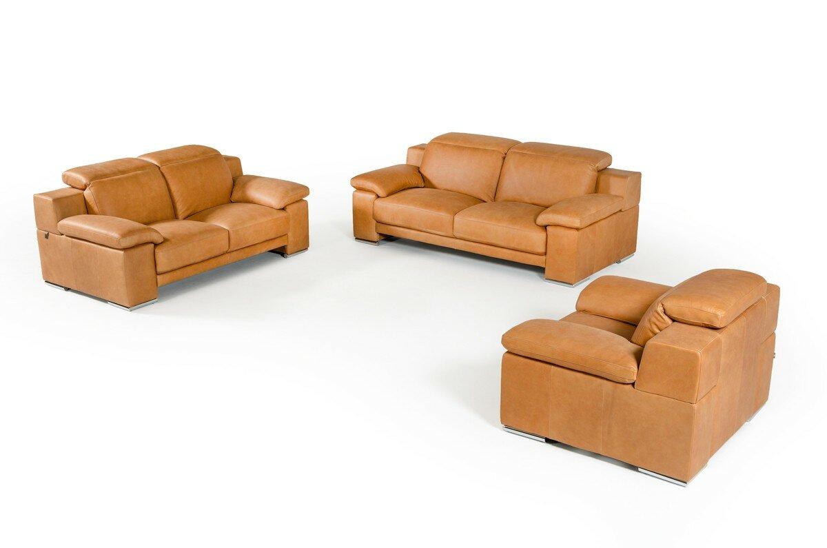 Orren Ellis Parodi Italian Cognac Leather 3 Piece Living Room Set ...