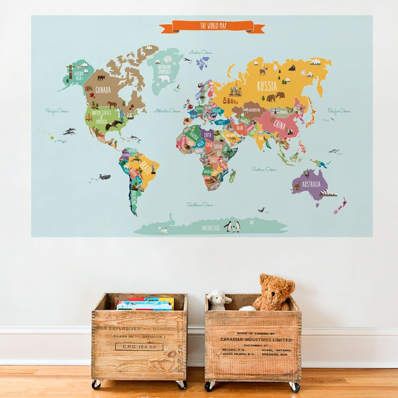 Simpleshapes countries of the world map poster wall decal countries of the world map poster wall decal sciox Images