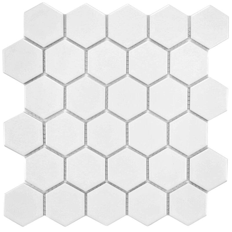Retro Hexagon 2 X Porcelain Mosaic Tile In White
