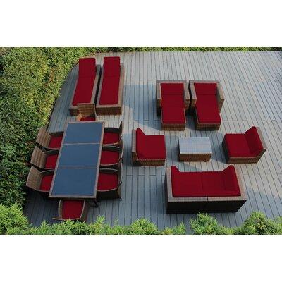 Orren Ellis Baty 20 Piece Complete Patio Set with SUNBRELLA Cushions Cushion Color: Sunbrella Jockey Red, Frame Finish: Mixed Brown
