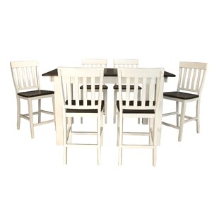 Aguero 7 Piece Counter Height Extendable Solid Wood Pub Table Set