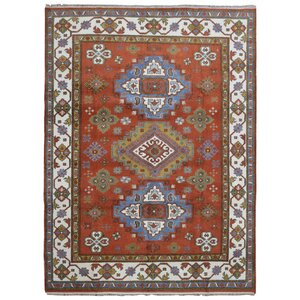 Galen Kazak Hand-Woven Wool Burnt Orange/Blue Area Rug