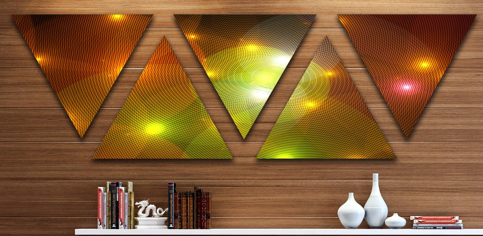 East Urban Home \'Golden Fractal Lights in Fog\' 5 Piece Graphic Art ...