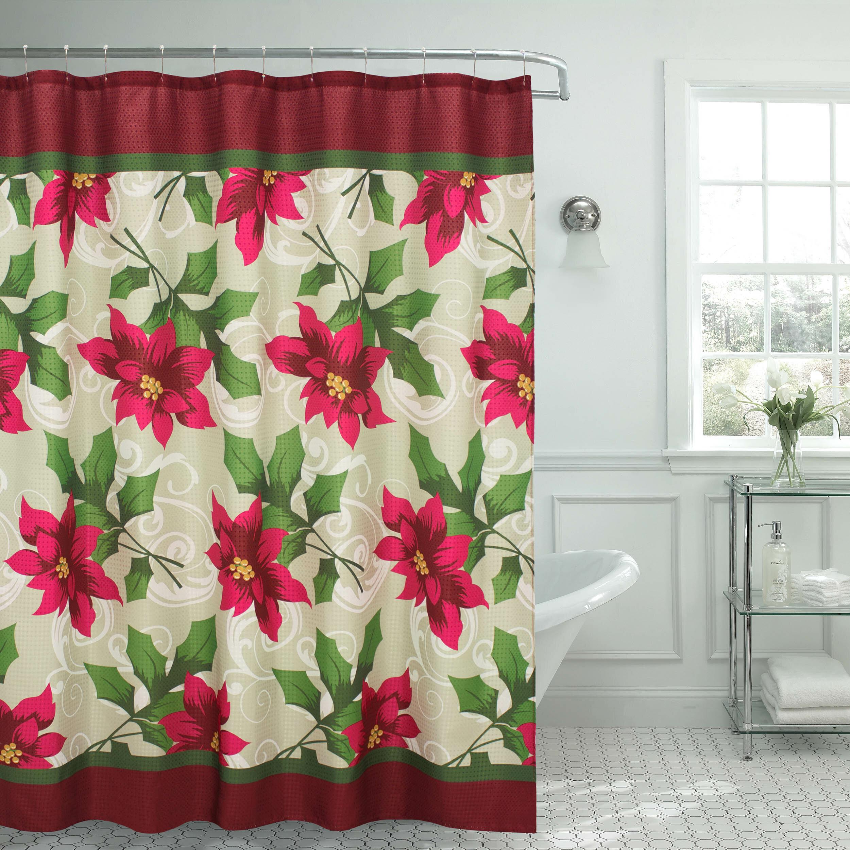 The Holiday Aisle Poinsettia Textured Shower Curtain