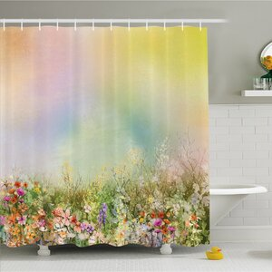 Watercolor Flower Home Cosmos Daisy Cornflower Wildflower Dandelion in Floral Meadow Scene Shower Curtain Set