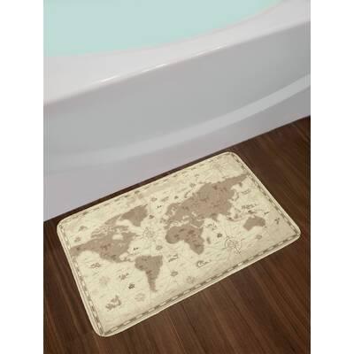 east urban home aged sepia pale yellow map bath rug wayfair