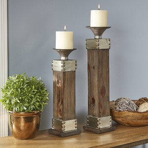 Lyell Fir and Metal Candlestick Holders (Set of 2)