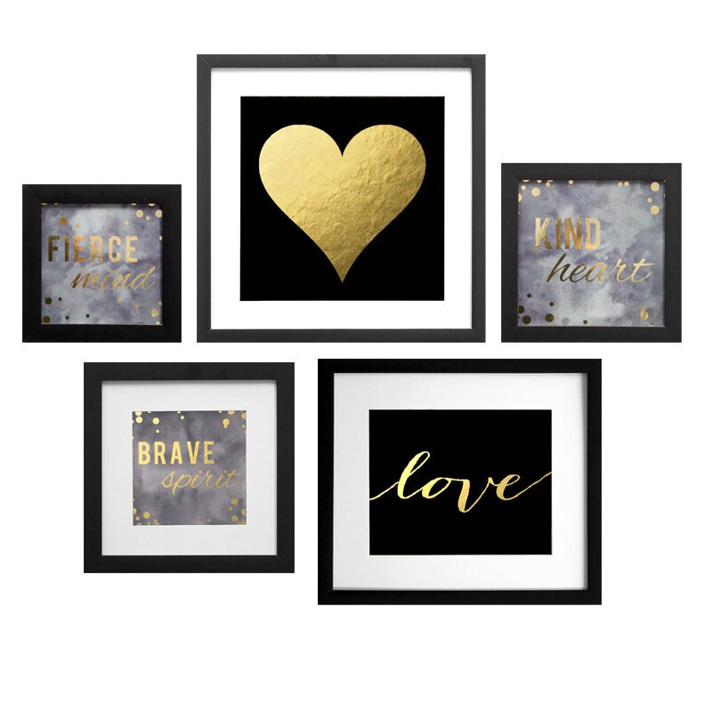 Willa Arlo Interiors Dark Diva Collage 5 Piece Framed Graphic Art
