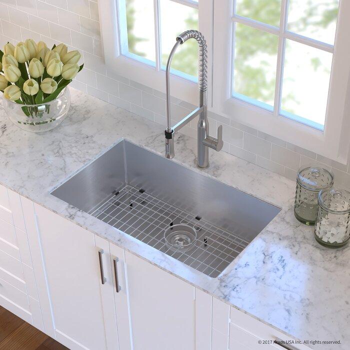 Handmade Stainless Steel 16 Gauge 32 L X 19 W Undermount Kitchen Sink With Faucet