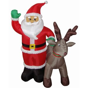 4u0027 Inflatable Santa With Reindeer Lighted Christmas Decoration