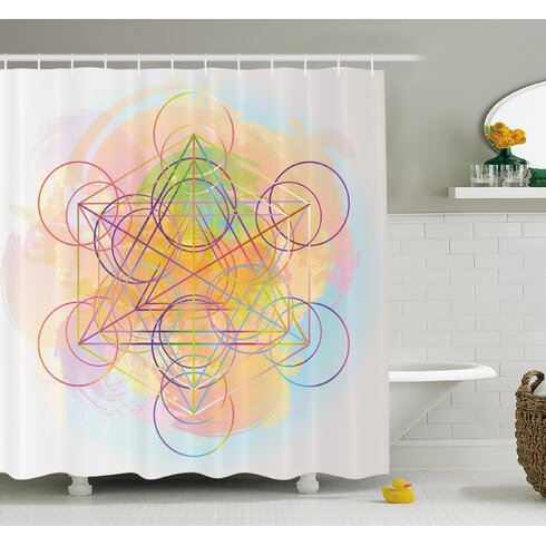 Psychedelic Flower Of Life With Modern Hallucinatory Hexagon Artwork Shower Curtain Set