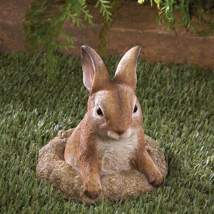 Exceptional Curious Bunny Garden Decor Statue