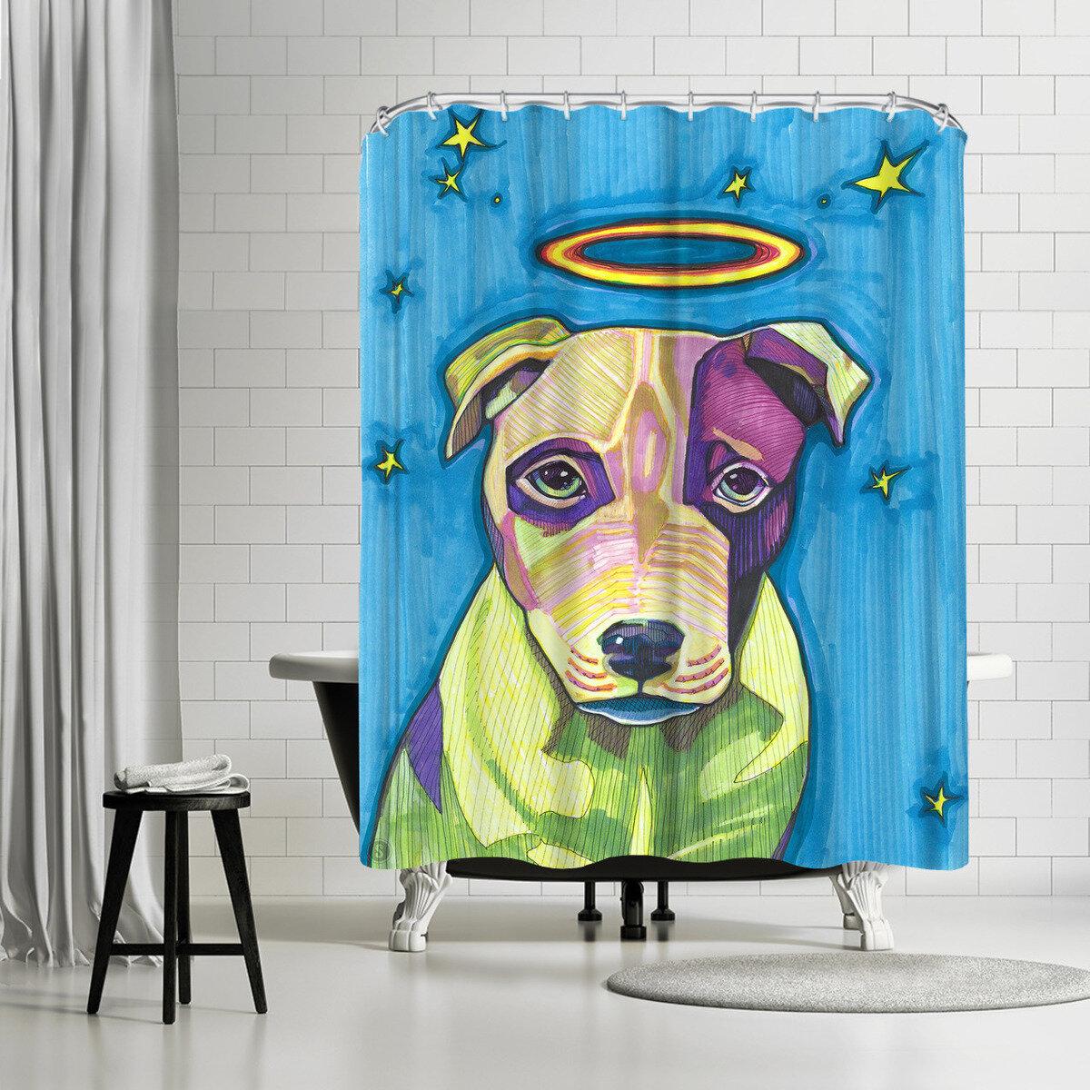 East Urban Home Solveig Studio Halo Dog Pete Shower Curtain