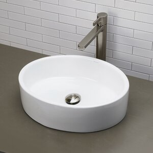 Classically Redefined Ceramic Oval Vessel Bathroom Sink