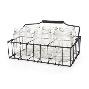 country home 7 piece metal and glass patio silverware caddy - Silverware Holder