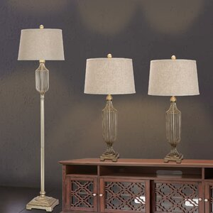 Poole 3 Piece Table and Floor Lamp Set
