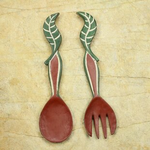Nourishment Hand Crafted African Wood Spoon And Fork Wall Décor (Set Of 2)