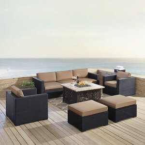 Dinah Outdoor Wicker 7 Piece Sectional Seating Group with Cushions