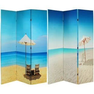 Gianluca Beach Canvas 3 Panel Room Divider