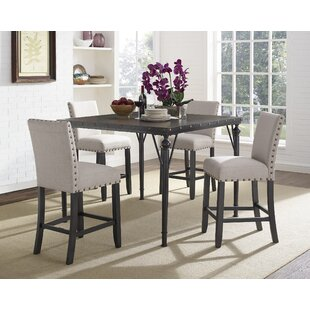 Haysi Wood Counter Height 5 Piece Dining Set with Fabric Nailhead Chairs