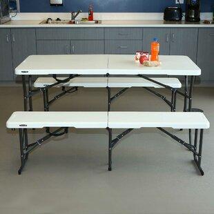 3 Piece 60\  Rectangular Folding Table Set & Folding Tables \u0026 Desks You\u0027ll Love | Wayfair