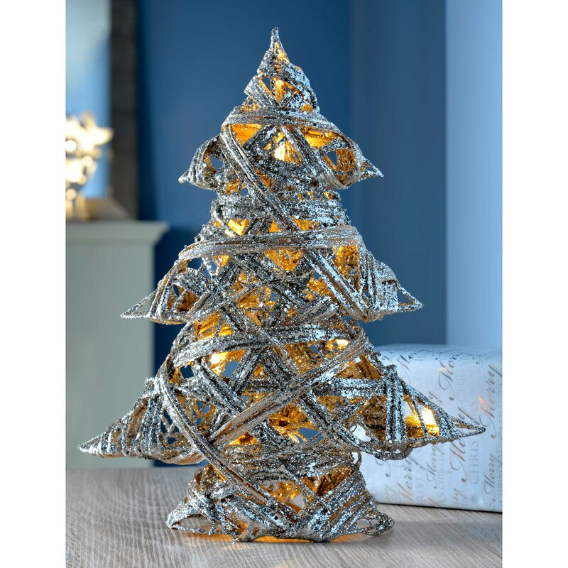 Pre Lit Silver Woven Rattan Warm White Led Christmas Tree Glitter Coating