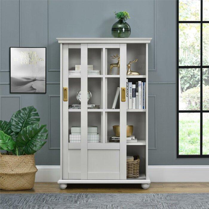 Novogratz Magnolia Hill Bookcase With Sliding Glass Doors Grey