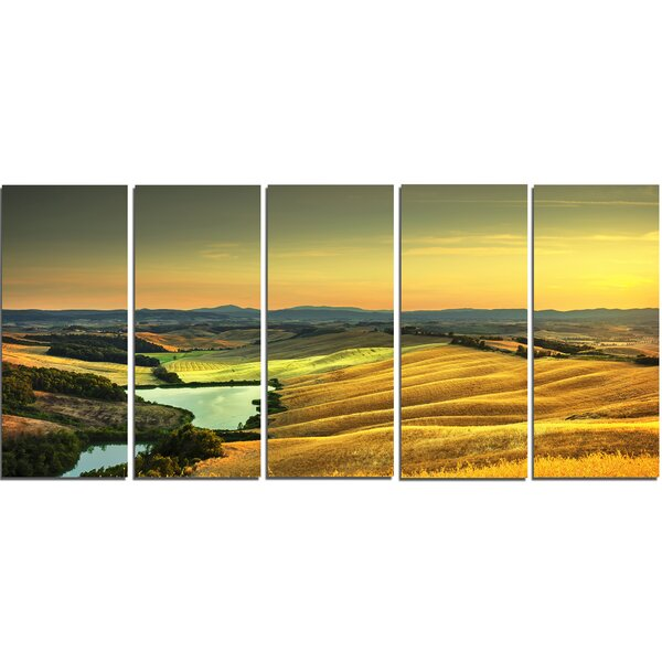 DesignArt Rural Landscape Italy Panorama 5 Piece Wall Art on Wrapped ...