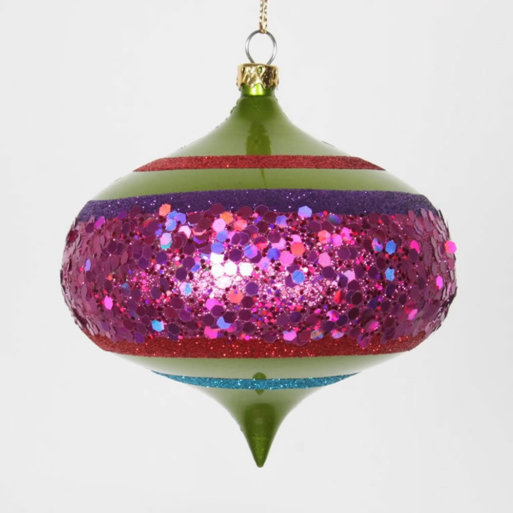 vickerman 4ct lime green and cerise pink shatterproof christmas glitter onion ornaments 4 100mm wayfair