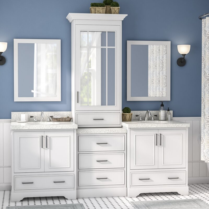 geraldina 85 double sink bathroom vanity with mirror - Double Sink Bathroom Vanities