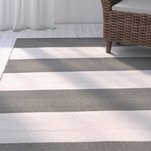 Ranier Stripe Hand-Woven Grey Indoor/Outdoor Area Rug