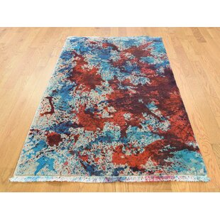 One Of A Kind Brode Tie Dye Nepali Closeout Hand Knotted 3 X 4 10 Wool Red Blue Area Rug